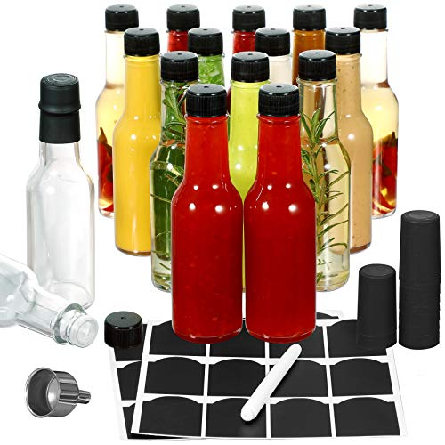 16-PACK Hot Sauce Bottles 5oz with Caps and Shrink Capsule, Funnel for Kitchen, Chalkboard Labels, Mini Wine Bottle Hot Sauce Kit, Woozy Bottle for Homemade Hot Sauce Oils, Extracts, Vinegars