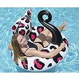 XWQXX Aufblasbare Erwachsene Gesicht Katze Schwimmen Ring Pool LoungerFloat Hängematte Aufblasbare Flöße Schwimmbecken Luft Leichter Schwimmender Stuhl Kompakte und tragbare,Black-120 * 120 * 36CM