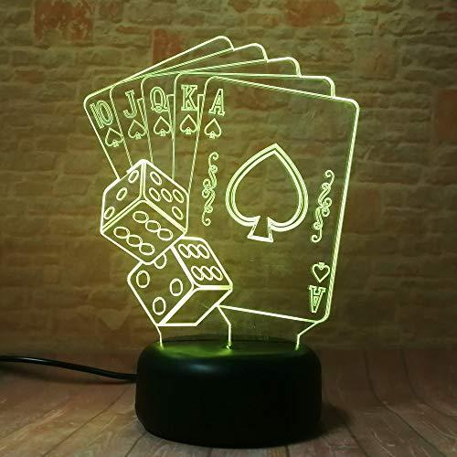 3d lamp Veilleuse Lampe 3D Mixed Magician Dice Poker Spades Playing Card 7 Color Gradient Enfant Enfant Enfant Xmas New Year Cadeau Cadeau Cadeau Cadeau Avec télécommande
