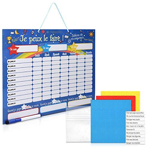 Navaris Tabla de recompensa para niños - Pizarra para recompensar Buen Comportamiento tareas Hechas y Aprender francés - Magnética con 250 imanes