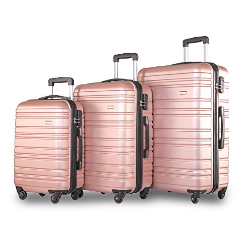 Set of 3 Light Weight Hardshell 4 Wheel Travel Trolley Suitcase Luggage Set Holdall Case-20/24/28 inch (Rose)