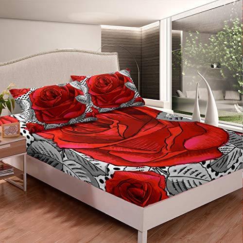 Juego de sábanas con diseño floral rosa 3D para niños y niñas, juego de sábanas bohemias románticas para el día de San Valentín, colección de dormitorio, 2 unidades, tamaño individual