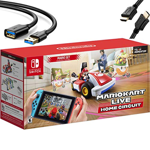 Nintendo 2020 Newest - Mario Kart Live: Home Circuit - Mario Set Edition - Holiday Family Gaming Bundle for Nintendo Switch, Nintendo Switch Lite - RED - iPuzzle 6ft USB Extension Cable + HDMI Cable
