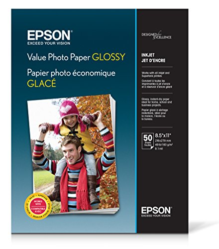 Epson Value Photo Paper Glossy, Letter, 50 Sheets (S400031)