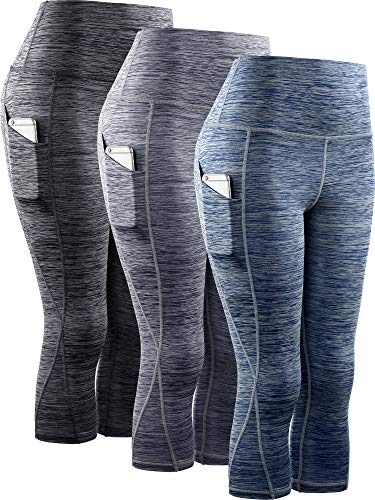 Neleus Women's 3 Pack Tummy Control High Waist Yoga Capri Leggings with Pockets,9034,Black,Grey,Navy Blue,XL,EU 2XL