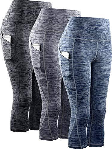 Neleus Women's 3 Pack Tummy Control High Waist Yoga Capri Leggings with Pockets,9034,Black,Grey,Navy Blue,M