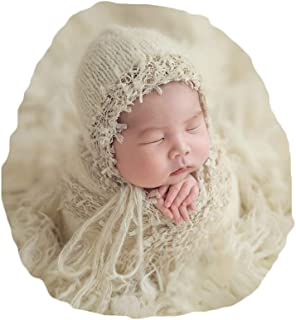 Newborn Baby Photography Props Outfits Hat Long Ripple Wrap Set for Boys Girls Photography Beige