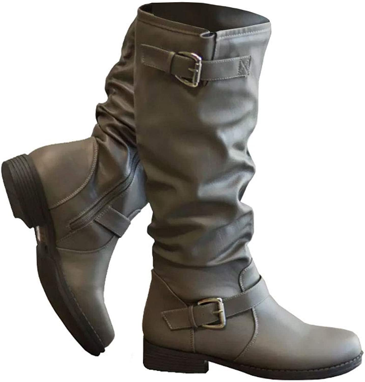 Syktkmx kvinnor Winter Lace Up Up Up Strappy Knee High Motorcycle Riding Flat Low Heel stövlar  mode