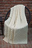 Honeycomb and Cable Knit Patterns 100% Irish Merino Wool Aran Throw / Blanket 60 x 40 inches (Natural)