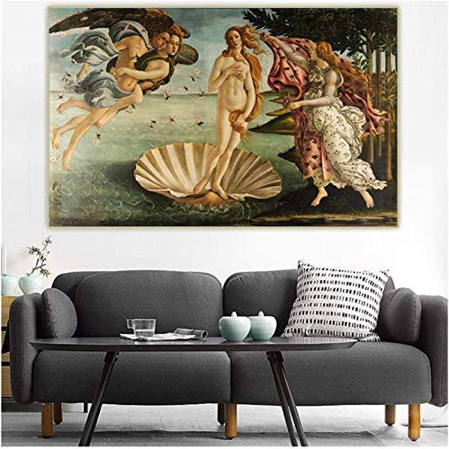 Impresión en lienzo 60x80cm Sin marco Sandro Botticelli 《El nacimiento de Venus》 Cuadro de pintura Decoración de sala de estar