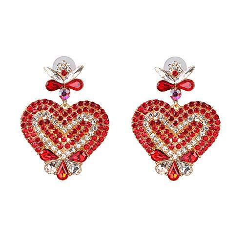 Pendientes de corazón de cristal rojo y transparente