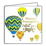 Afie 22065 Carte Heureux ANNIVERSAIRE Follow your dreams Suis tes rêves en Or Doré Brillant - Carte carrée 145x145mm avec enveloppe - Fabrication Française ; Montgolfières ;