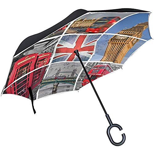 Paisaje Urbano London Union Jack Big Ben Tower Bridge Paraguas invertido, Gran Capa Doble Exterior Rain Sun Car Paraguas Reversible