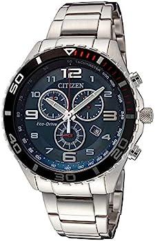 Citizen Eco-Drive Blue Chronograph Dial Steel Men's Watch (AT2121-50L)