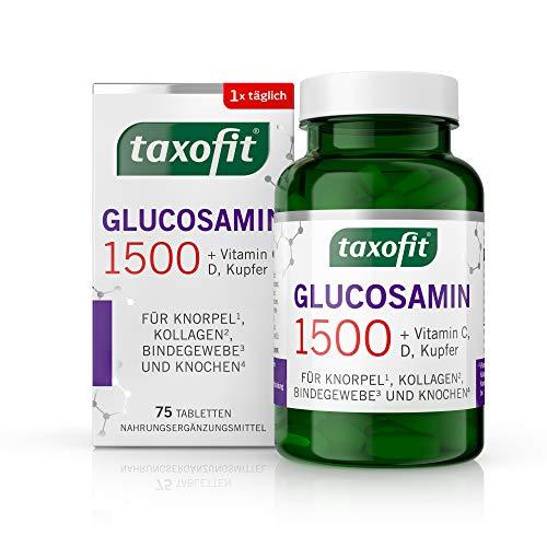taxofit Glucosamin 1500 mit dem Plus an Vitamin C, D und Kupfer für Knorpel, Kollagen, Bindegewebe und Knochen | Nahrungsergänzungsmittel | 75 Tabletten