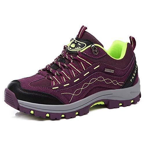 ALLAK Outdoor Leather Hiking Shoes Low Cut Boots Breathable Lightweight Sneaker for Walking Trekking(Purple-37/6.5 B(M) US Women)