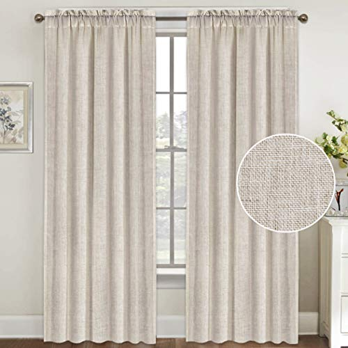 Natural Linen Curtains 96 Inches Long Rod Pocket Semi Sheer Curtain Drapes Elegant Casual Linen Textured Window Draperies, Light Filtering Privacy Added Home Fashion 2 Panels,Angora
