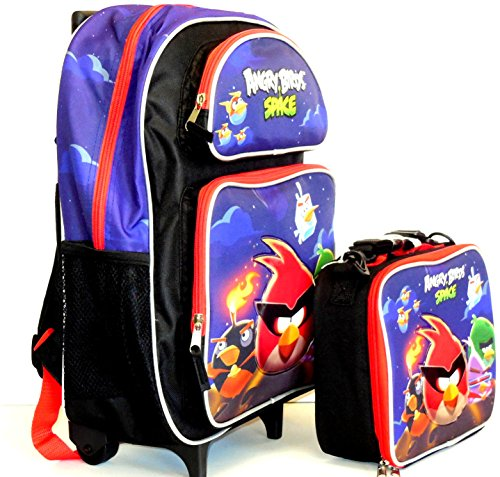"""Granny's Best Deals (C) Rovio 16"""" Angry Birds Space Toddler Rolling Backpack and matching Angry Birds Space Lunch Bag Lunch Box-Brand New!"""