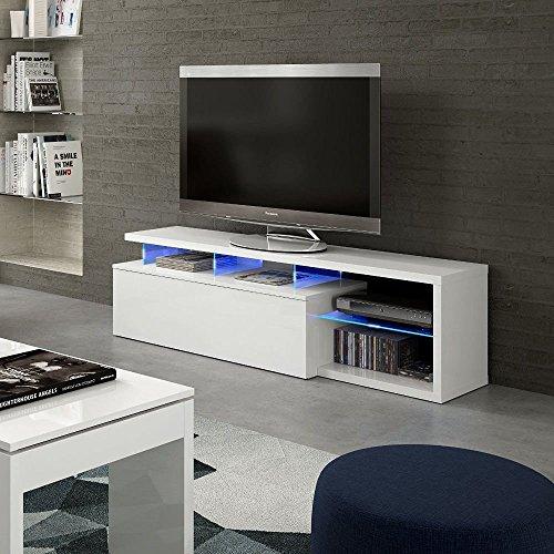 HOGAR24.es Mueble Salon Comedor TV con Leds Color Blanco Brillo
