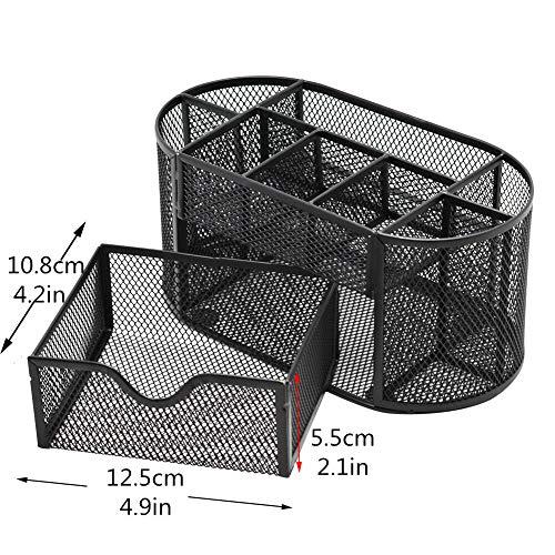 DishyKooker Metallstifthalter Bleistiftlauf Multifunktionales Studentenbriefpapier 9-Zellen-Kombinations-Aufbewahrungsbox Black Boxed articulos de producto