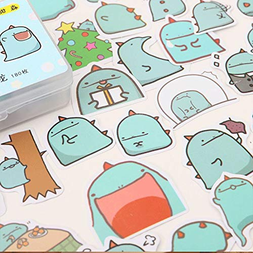 Hand Account Stickers Leuke Cartoon Koreaanse Kleine Draak Groen Kleine Dinosaur Stickers Stickers Hand Account En Papier Tape Decoratie Stickers Set Album Mobiele Telefoon Notebook Dagboek Diy Plakken 180