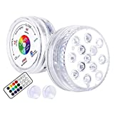 LOFTEK Submersible LED Lights with Remote (RF), Suction Cups,13 LED Waterproof Underwater Led Lights Extra Bright, Battery Operated Decoration Light for Vase Pool,Pond,Centerpiece,Foundation(2 Packs)