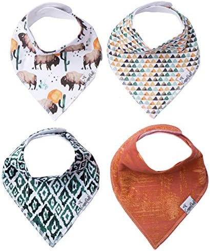 Baby Bandana Drool Bibs for Drooling and Teething 4 Pack Gift Set Bison by Copper Pearl product image