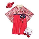BECOS ベビー 袴風 ロンパース 女の子 和装 百日祝い お正月 (梅色, 80)