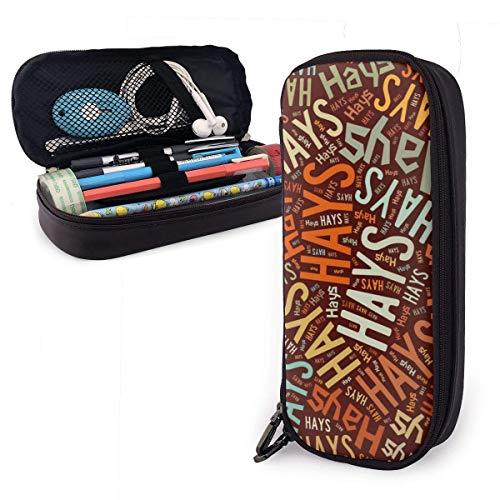 Hays-Nachname Hochleistungs-Leder-Federmäppchen, Bleistift-Schreibwarenhalter Großer Aufbewahrungsbeutel Box Organizer