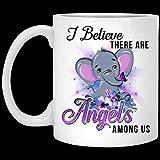 Taza de cerámica con diseño de elefante, con texto en inglés 'I Believe There are Angels Am0ng