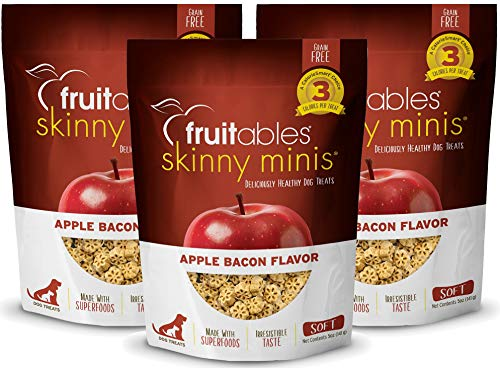 Fruitables Skinny Minis 5 Ounce Apple Bacon Low Calorie Soft and Chewy Training Treat Pack of 3