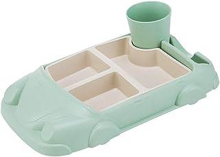 STOBOK Bamboo Fiber Baby Plate Set Children Feeding Dish Food Divider Tray Tableware Creative Car Separation Training Plat...