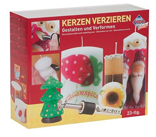 Set zum Verzieren von Kerzen mit Kerzenkolben, verschiedenen Aufsätzen, Kerzen zum Dekorieren, Servietten zum Aufbügeln mit Weihnachts-Motiven