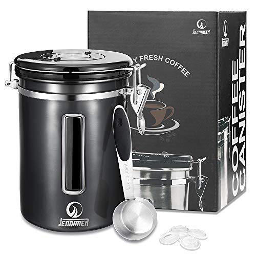 JENNIMER Coffee Stainless Steel Container Large with Transparent Window...