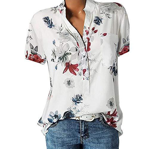 Große Größe Blusen Damen Elegante V-Ausschnitt Blumen Bluse Kurzarmshirt Sommer Casual Lose Tunika Top Hemd mit Knopfleiste Blusenshirt Tasche T-Shirt Oberteile(EUR-36/CN-M,Weiß)
