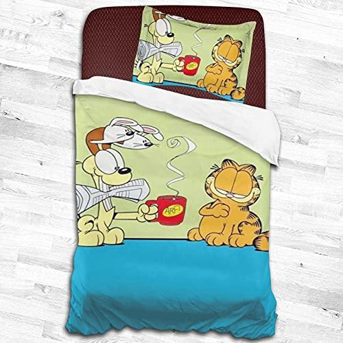 Garfield - Juego de ropa de cama para niños, niñas y adolescentes, 2 piezas, 1 funda de edredón y 1 funda de almohada, color negro