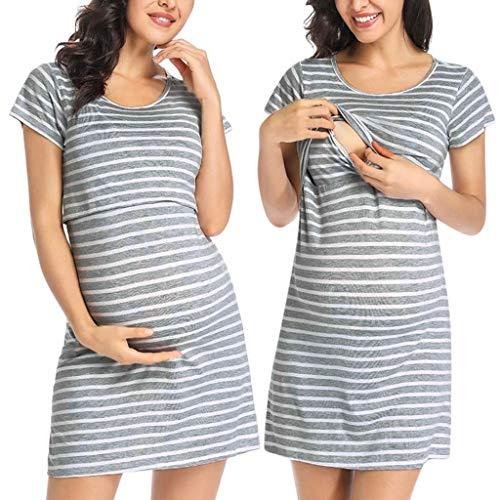 Yuelie Vestido de Lactancia de Rayas Casuales para Maternidad, para Lactancia Materna, Embarazada, Verano, Manga Corta, Camisa, Vestido de Noche Gris Gris XL