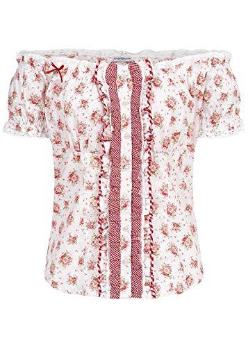 Seventyseven Lifestyle Damen Off-Shoulder Trachten Bluse Blumen Print Off Weiss