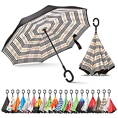 Sharpty Inverted Umbrella, Umbrella Windproof, Reverse Umbrella, Umbrellas for Women with UV Protection, Upside Down Umbrella with C-Shaped Handle (Beige Plaid)