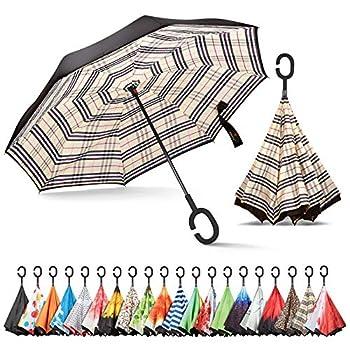 Sharpty Inverted Umbrella Umbrella Windproof Reverse Umbrella Umbrellas for Women Upside Down Umbrella with C-Shaped Handle  Beige Plaid