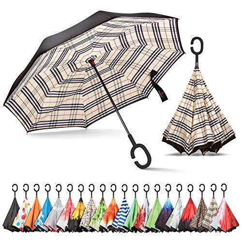 sharpty seitenverkehrt Regenschirm, Regenschirm Winddicht, Rückseite Regenschirm, Regenschirme für Frauen mit UV-Schutz, umgedreht Regenschirm mit C-förmigem Henkel, Beige kariert