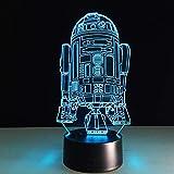 Cool R2D2 Robot 3D Lampada da tavolo Giocattolo per bambini Regalo Luce notturna LED Comodino Scrivania Lampade Lampe USB s Bambini