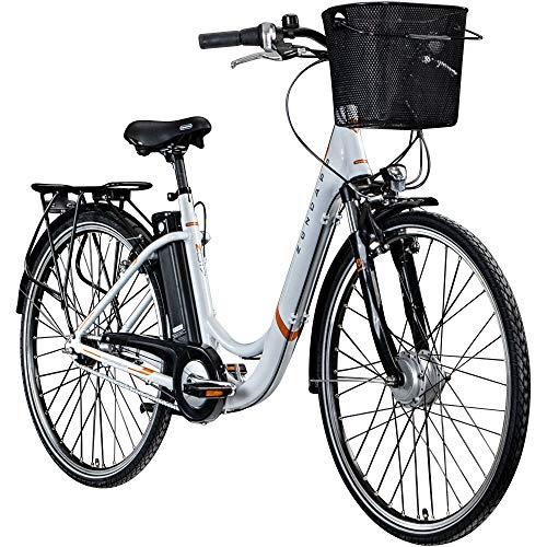 Zündapp Z517 700c E-Bike - Bicicleta eléctrica para mujer (28 pulgadas), color blanco/naranja, 48 cm