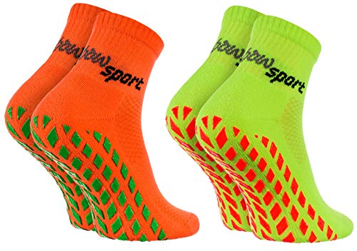 Rainbow Socks - Hombre Mujer Calcetines Antideslizantes de Deporte - 2 Pares - Naranja Verde - Talla 42-43