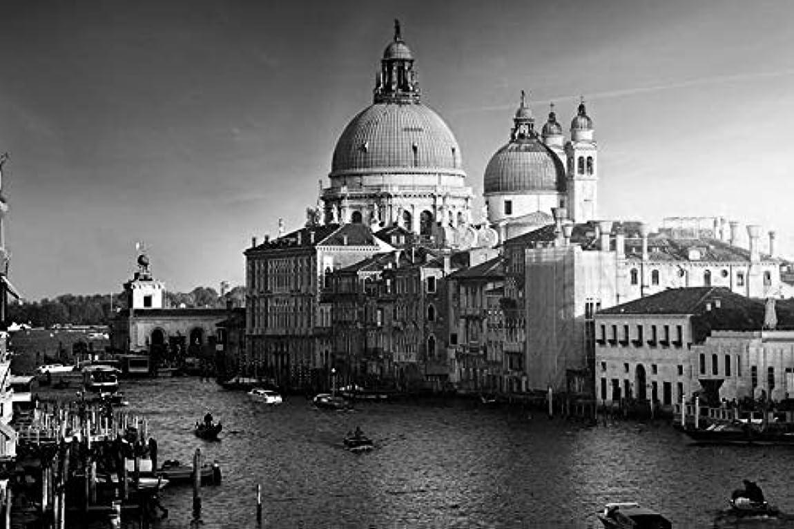 不愉快に定義するヘルメット黒と白 アート印刷 キャンバス壁紙 ( イタリアヴェネツィア、運河、船、建物、水、日没 ) 部屋飾り背景絵画 キャンバス写真 壁紙ポスター はがせるシール式 写真 特大 絵画 壁飾り 105cmx70cm