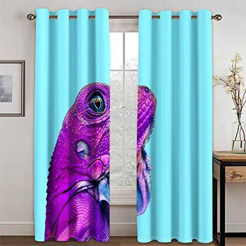 YUNSW Cortinas Azules con Diseño Divertido, Cortinas Opacas Y con Reducción De Ruido para Sala De Estar Y Dormitorio, Juego De 2 (Total Width) 234x(Height) 230cm