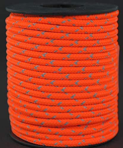 Gepolight  Cuerda trenzada/cuerda trenzada/cuerda/cuerda de tienda/cuerda de barra/cuerda fuerte reflectante y fluorescente Diámetro 3,5 mm de 15 metros naranja luminoso/naranja neón (color de señal visible)