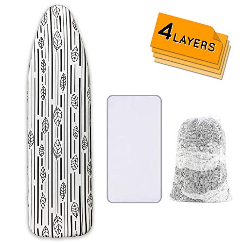 Ironing Board Cover and Pad Extra Thick Heavy Duty Padded 4 Layers Non Stick Scorch and Stain Resistant and 3 Velcro Straps Elastic Edges with 2 Bonus Laundry Bag and Protective Ironing Scorch 15x54