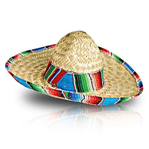 ArtCreativity Mexican Sombrero Hat, Straw Hat for Kids' Mariachi Costume, Cinco De Mayo Sombrero Party Hat with Chin Strap, Fits Most Kids, Fiesta Party Favors and Decorations, Stage Play Prop