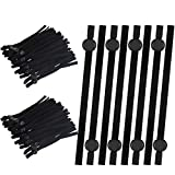 WILLBOND 250 Pieces Flat Elastic Cord Bands with Adjustable Buckle Stretchy Sewing Strap Band Ear Loop Anti-Slip Elastic Band for DIY Cover Accessories (Black)